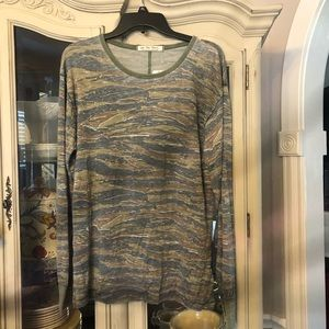 Free People Tiger Combo Knit Shirt NEW NWT